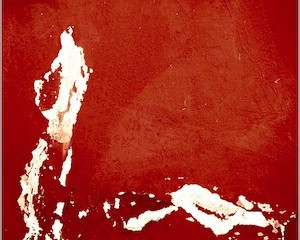 Abstract chipped red paint