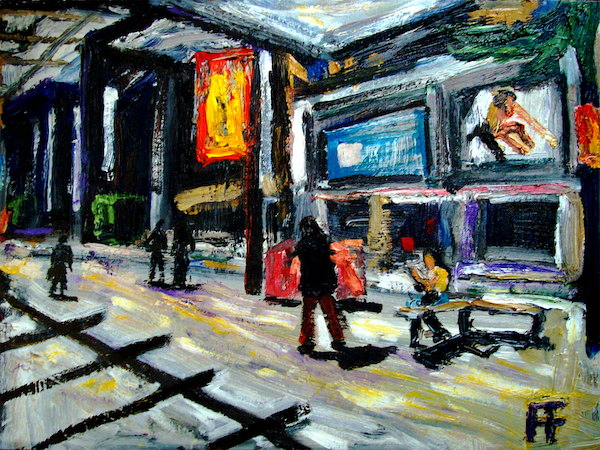 forrest_vancouver_bc_granville_street_at_hudsons_bay_oil_on_canvas_14x18